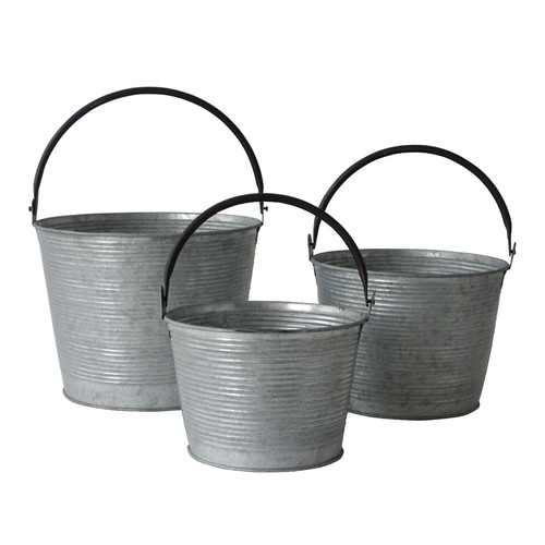 Cheungs 3 Piece Metal Tapered Bucket Set with Handles