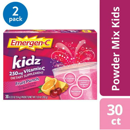 (2 pack) Emergen-C Kidz Vitamin C Drink Mix, Fruit Punch, 250mg, 30 Ct (Fruit Of The Earth Vitamin C)