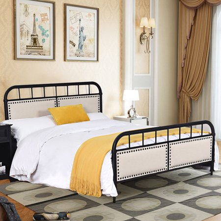Costway Full size Metal Bed Frame Platform Bed Upholstered Panel Headboard Footboard (Again Full Metal)