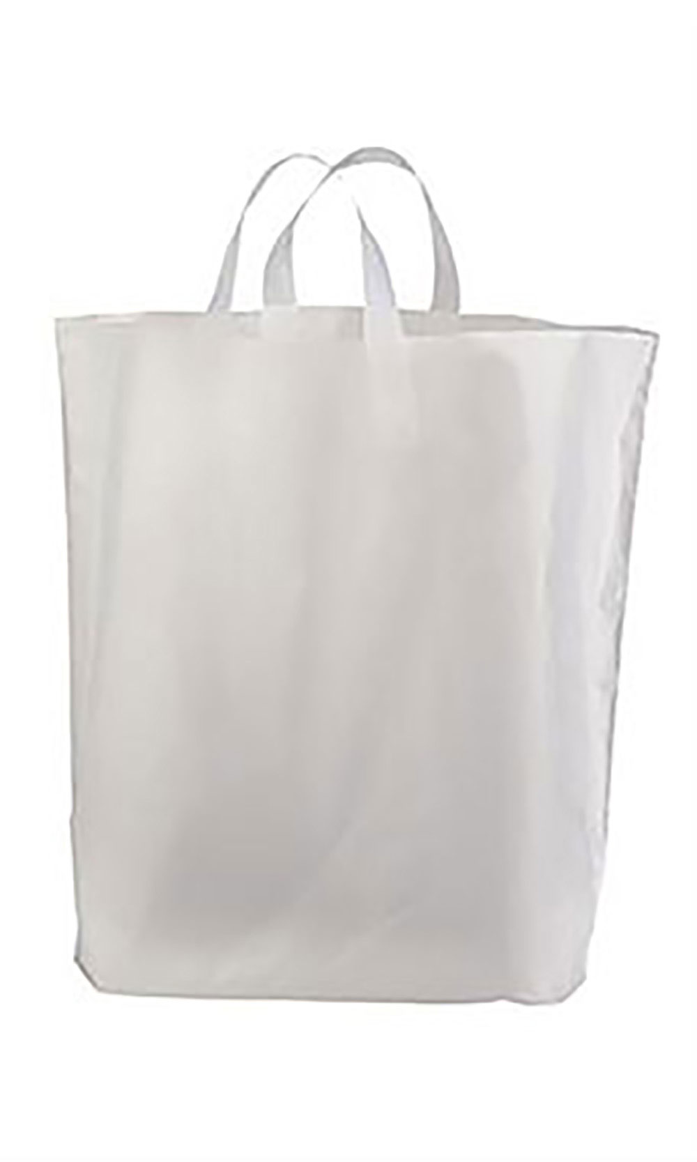 "Recycled Clear Frosted Plastic Shopping Bags (16"" x 15"" x ..."