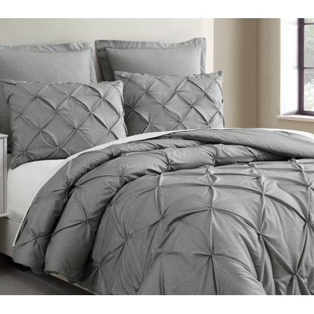 Estellar 3pc Light Grey Comforter Set Queen Size Pinch Pleat Pattern Down Alternative Pintuck Bedding by Cozy Beddings ()