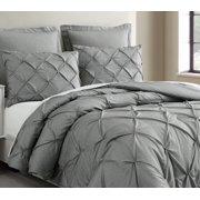 Estellar 3pc Light Grey Comforter Set Queen Size Pinch Pleat Pattern Down Alternative Pintuck Bedding By