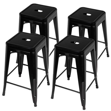 Homegear 4 Pack Stackable Metal Kitchen Stools / Chairs Black ()