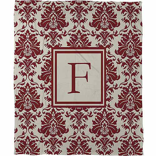 Thumbprintz Damask Monogram Fleece Throw, Crimson