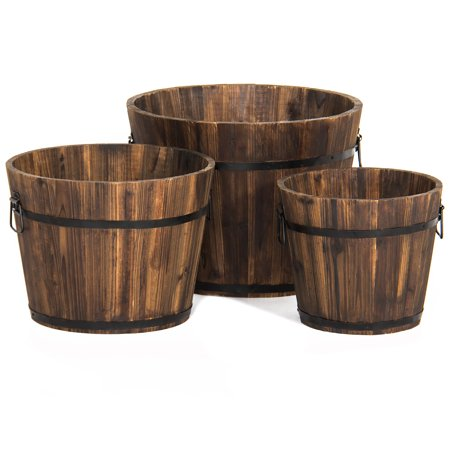 Best Choice Products Set of 3 Indoor Outdoor Patio Garden Wooden Barrel Planters with Drainage Holes and Side Handles, Brown ()