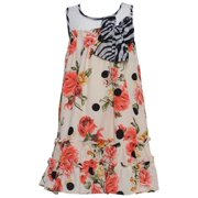 Baby Girls Coral Roses Striped Bow Accent Sleeveless Dress 6M