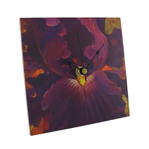 `Beautiful Dreamer` Purple Iris Square Tabletop or Wall Clock 6 In.