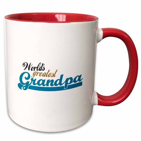 3dRose Worlds Greatest Grandpa - Best Grandfather in the world - Great Grandpop gifts - blue text - Two Tone Red Mug, 11-ounce ()