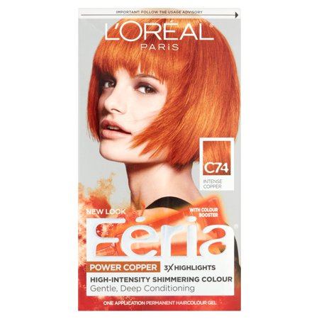 L'Oreal Paris Feria Multi-Faceted Shimmering Permanent Hair Color, C74 Copper Crave (Intense Copper), 1