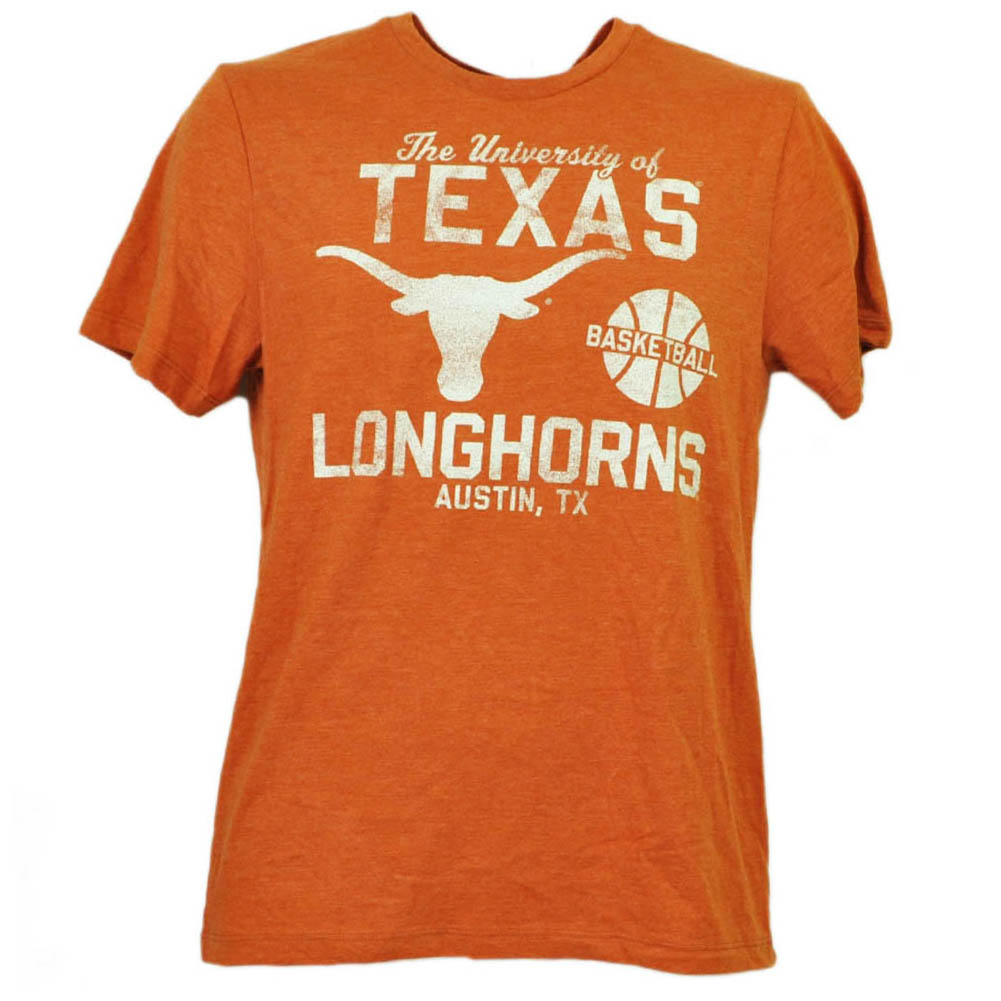 NCAA Texas Longhorns Basketball Mens Tshirt Tee Orange Short Sleeve Crew Neck LG