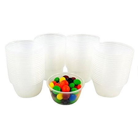 Transparent Portion Cup - 2 oz. Disposable Translucent Portion Food Cups (Souffle Cups/Jello Shot Cups) Pack of 200 (NO LIDS)