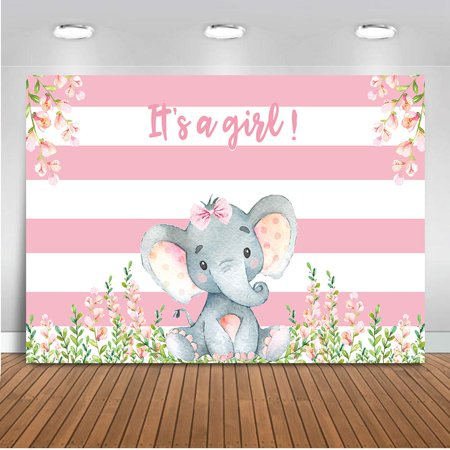 Girl Elephant Baby Shower Backdrop Pink Flower Elephant Photography Background 7x5ft Vinyl Elephant Baby Shower Party Banner Backdrops (Flower Banner)