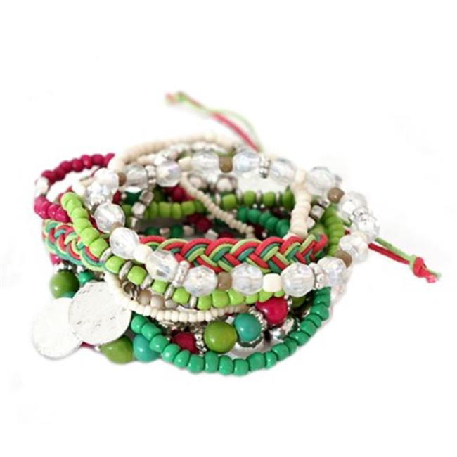 C Jewelry Green And Fuchsia Mixed Multi Stretch Bracelet