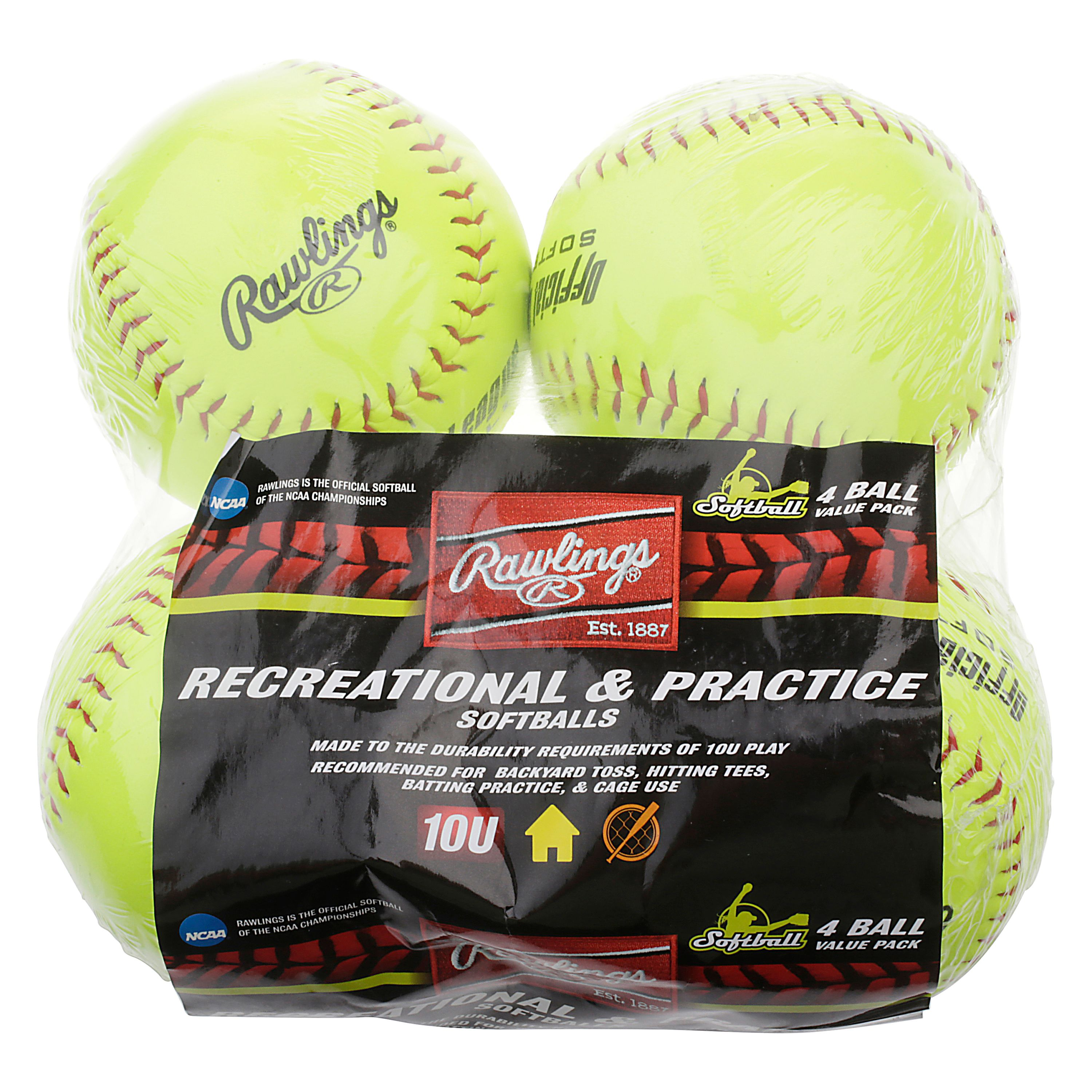 Rawlings Recreational and Practice Softballs, 4 Pack
