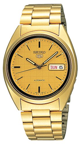 Seiko Men's SNXL72 Seiko 5 Automatic Gold-Tone Stainless Steel Bracelet Watch with Patterned Dial by Seiko