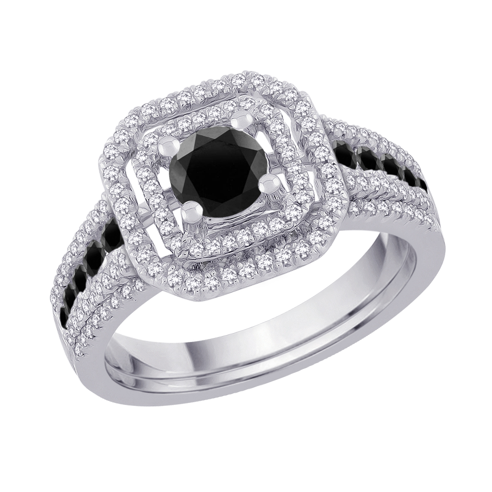 14K White Gold, Black and White Diamond Engagement Set (1 1 2 cttw) by Katarina