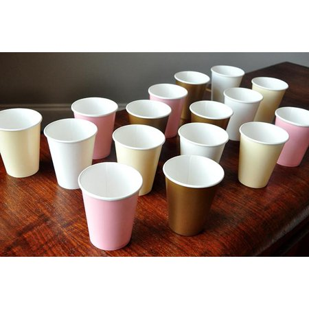 Paper Party Cups for a Pink and Gold Party. Ships in 1-3 Business Days. Set of 12 or More Cups in Baby Pink, Ivory, White and Gold. (Pink Party Cups)