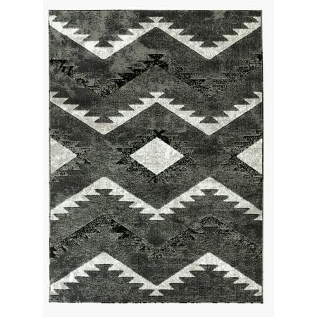 Newport Collection - Gray, Light Gray Southwestern Tribal Area Rug ()