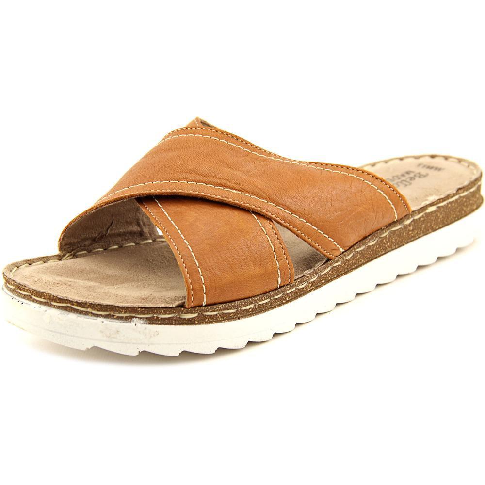 Bella Vita Fasano Women WW Open Toe Leather Brown Slides Sandal by Bella Vita
