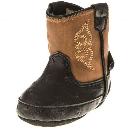 Blazin` Roxx Boys Blazin Roxx Black Baby Bucker Camden Ostrich Print Cowboy Boots