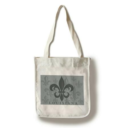Louisiana - Fleur de Lis - Pattern - Gray - Lantern Press Artwork (100% Cotton Tote Bag - Reusable)