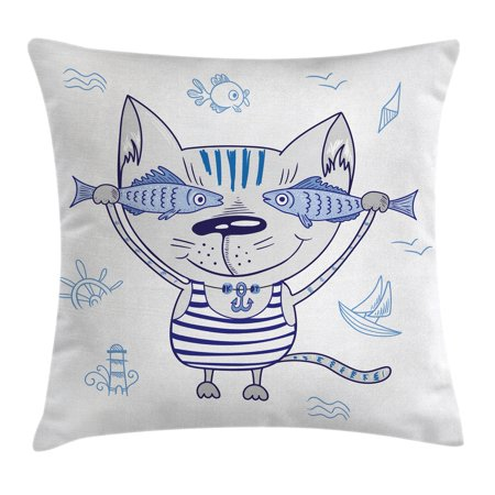 Opal Cased Globe Pendant - Ocean Animal Decor Throw Pillow Cushion Cover, Naughty Cat with Fish in Striped T-shirt Anchor Pendant and Nautical Sign, Decorative Square Accent Pillow Case, 16 X 16 Inches, Blue Grey, by Ambesonne