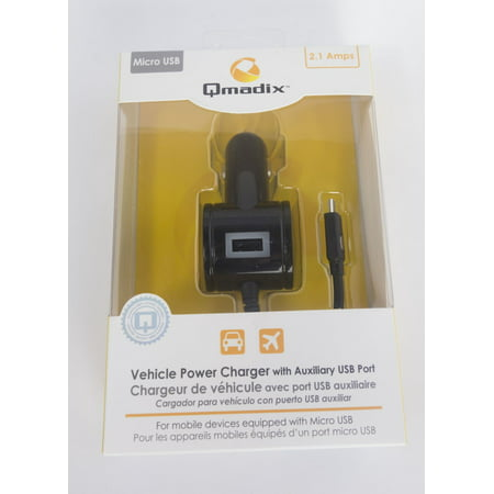 Qmadix Vehicle Power Charger with Auxiliary USB Port with Micro USB 2.1A