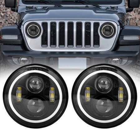7'' Round Wrangler LED light LED Headlights for 97-18 Jeep Wrangler JK