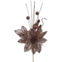 "Vickerman 14"" Mocha Poinsettia-Ball Pick 12/Bag"