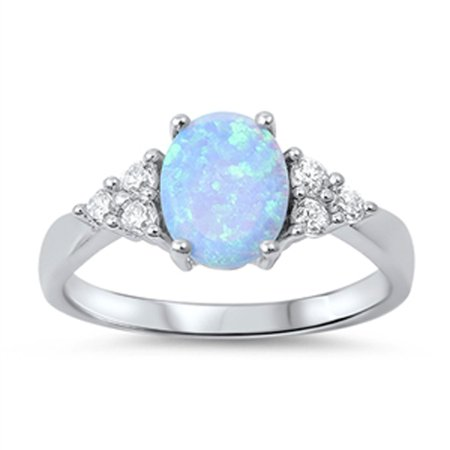 CHOOSE YOUR COLOR Light Blue Simulated Opal White CZ Cluster Ring .925 Sterling Silver Band - Rings That Light Up