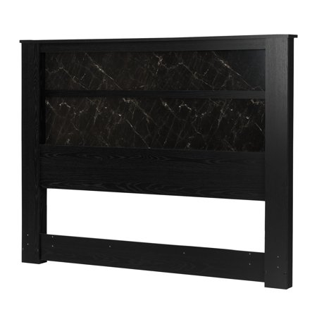 South Shore Gloria King Headboard with Lights, Black Oak and Black Marble, 78