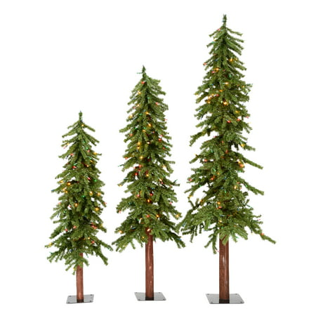Vickerman Artificial Christmas Tree 4', 5', 6' Natural Triple Alpine Set of 3, 500 Multi-color Lights (Triple Tree Set)