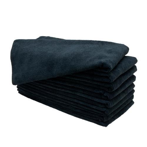 "Optima Plus 15"" x 24"" 8 Pack Microfiber Salon Towels, BLACK, 82621"
