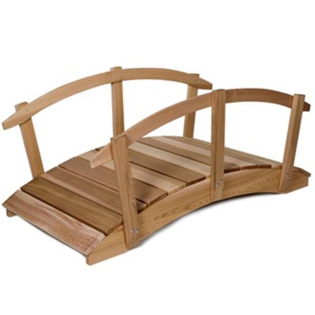 All Things Cedar Hand-Crafted  Cedar Garden Bridge with Rails Curved Rail Garden Bridge