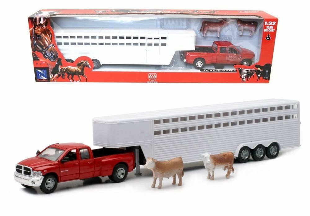 2014 Dodge Ram 3500 Pick-Up w  Animal Trailer & Cows, Red New Ray SS-10923 1 32 Scale... by New Ray