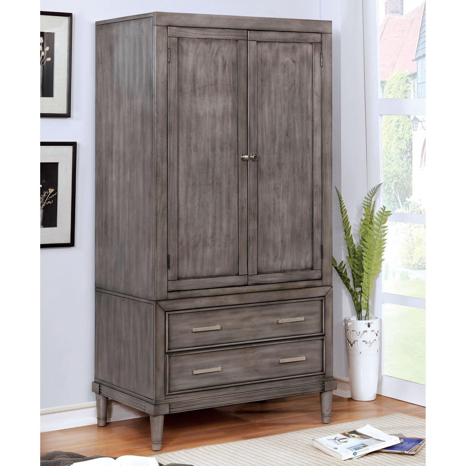 Furniture of America Kaylan Transitional 2-Drawer Multi-Storage Armoire