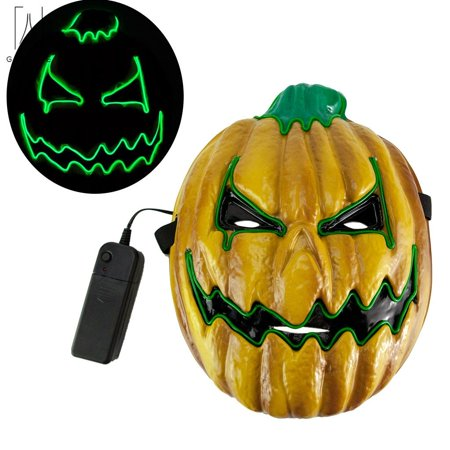 Scary Pumpkins For Halloween (GustaveDesign Halloween Mask 4 Mode LED Pumpkin Glowing Mask Scary Luminous Role Playing for Halloween cosplay Christmas)