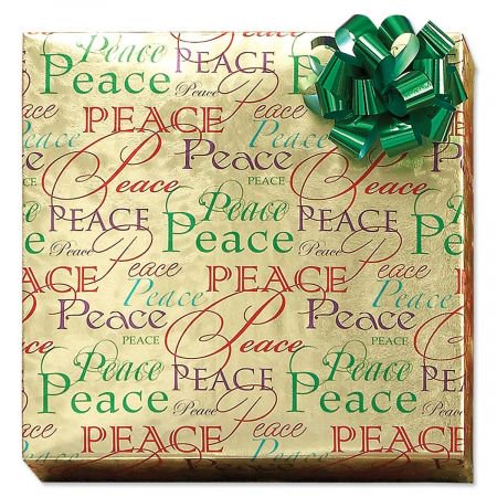 - Christmas Peace Foil Rolled Gift Wrap - 38 sq. ft. metallic wrap