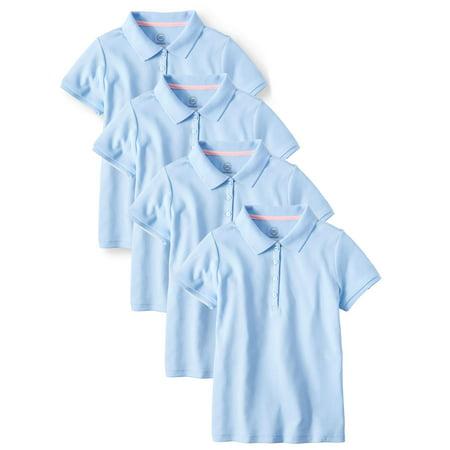 Wonder Nation Girls School Uniform Short Sleeve Interlock Polo, 4-Pack Value Bundle (Little Girls & Big