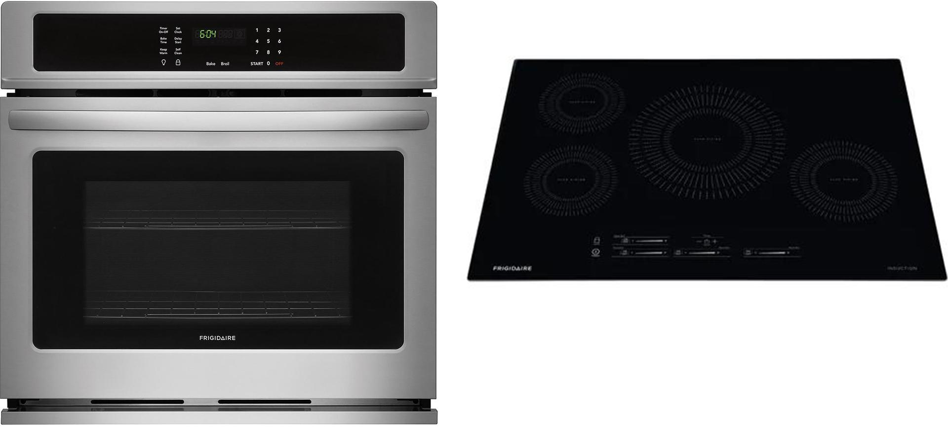 Frigidaire 2 Piece Kitchen Appliances Package with FFEW2726TS 27 Electric Single Wall Oven and FFEC3025US 30 Electric Cooktop in Stainless Steel