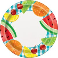 Teal Gingham Picnic Paper Dinner Plates, 9 in, 8ct