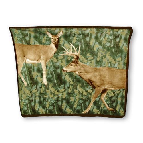 Forest Camouflage Buck and Doe Deer Fleece Throw Blanket 60 X 50 In.
