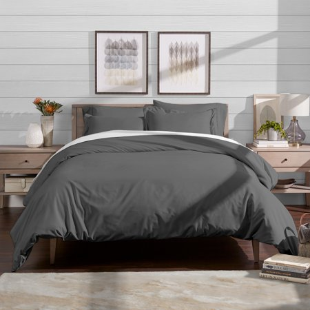 1000tc Luxury Duvet Cover (Bare Home Luxury 3 Piece Duvet Cover and Sham Set - Premium 1800 Ultra-Soft Brushed Microfiber - Easy Care, Wrinkle Resistant (Full/Queen, Grey))