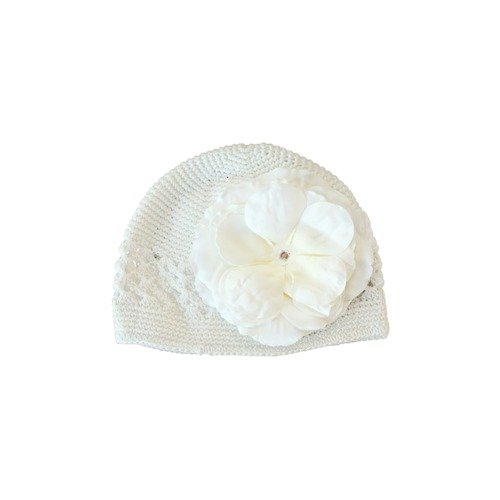 Lil Bowtique & Co White Crochet Hat with White Rose Flower