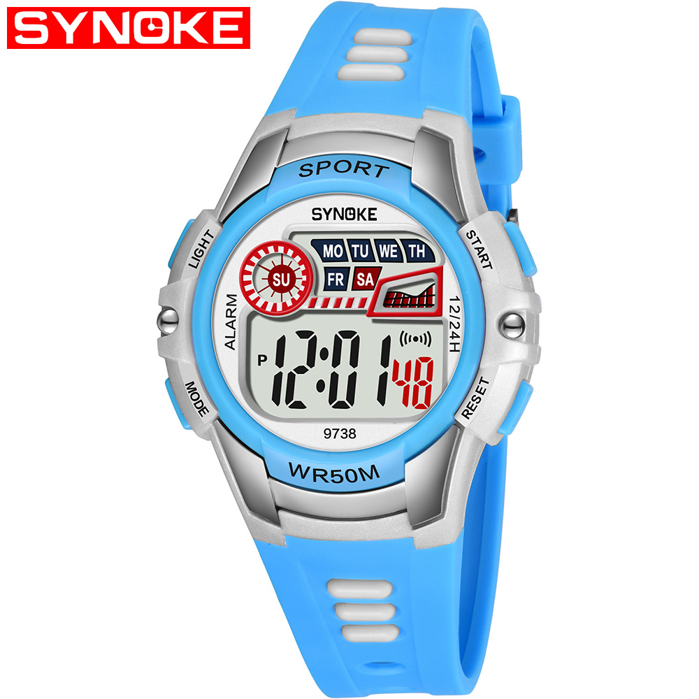 SYNOKE 9738 Child Watch Sport Watch Luminous Alarm Digital Waterproof Wrist Watch kid Watch