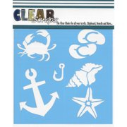 "Clear Scraps Stencils 6""X6""-Beach Fun"