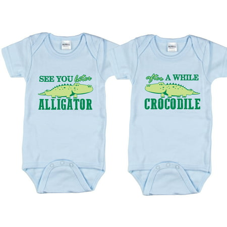 Nursery Decals and More Brand: Twin Boys Bodysuits, Includes 2 Bodysuits, 0-3 Month Alligator