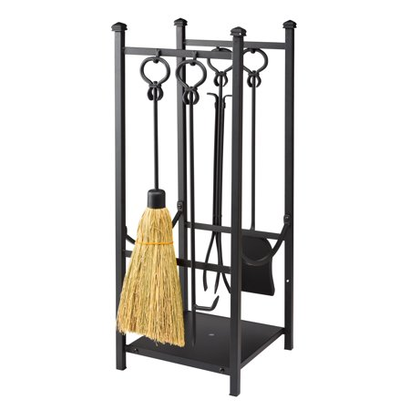 All In One Wood Rack W Fireplace Tool Set In Black