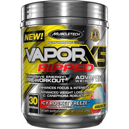 MuscleTech Vapor X5 Ripped Explosive Energy Pre Workout Powder, Icy Rocket Freeze, 30 Servings ()