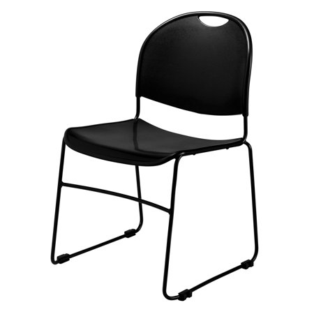 - Commercialine® Economy Stack Chair With Built-in Ganging, Black
